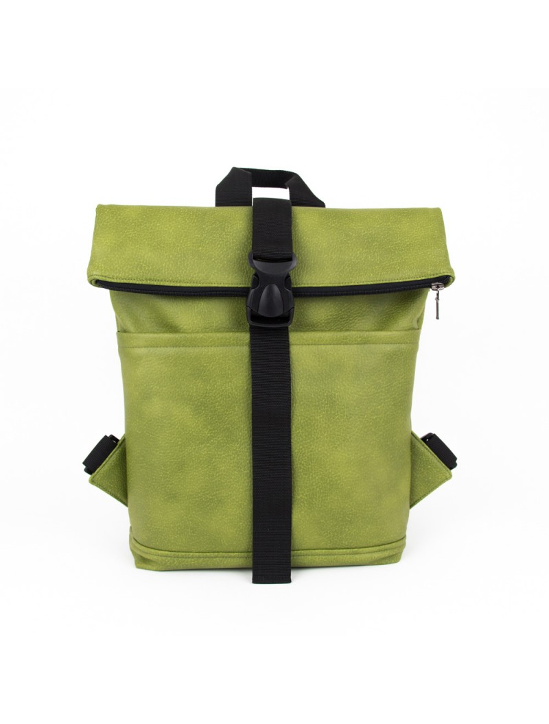 Green Vanilla Fold Top Backpack With Black Details Is A Classic Design Unisex Foldable We Added An Extra Pocket To The Back Of Where You Can Fit Most