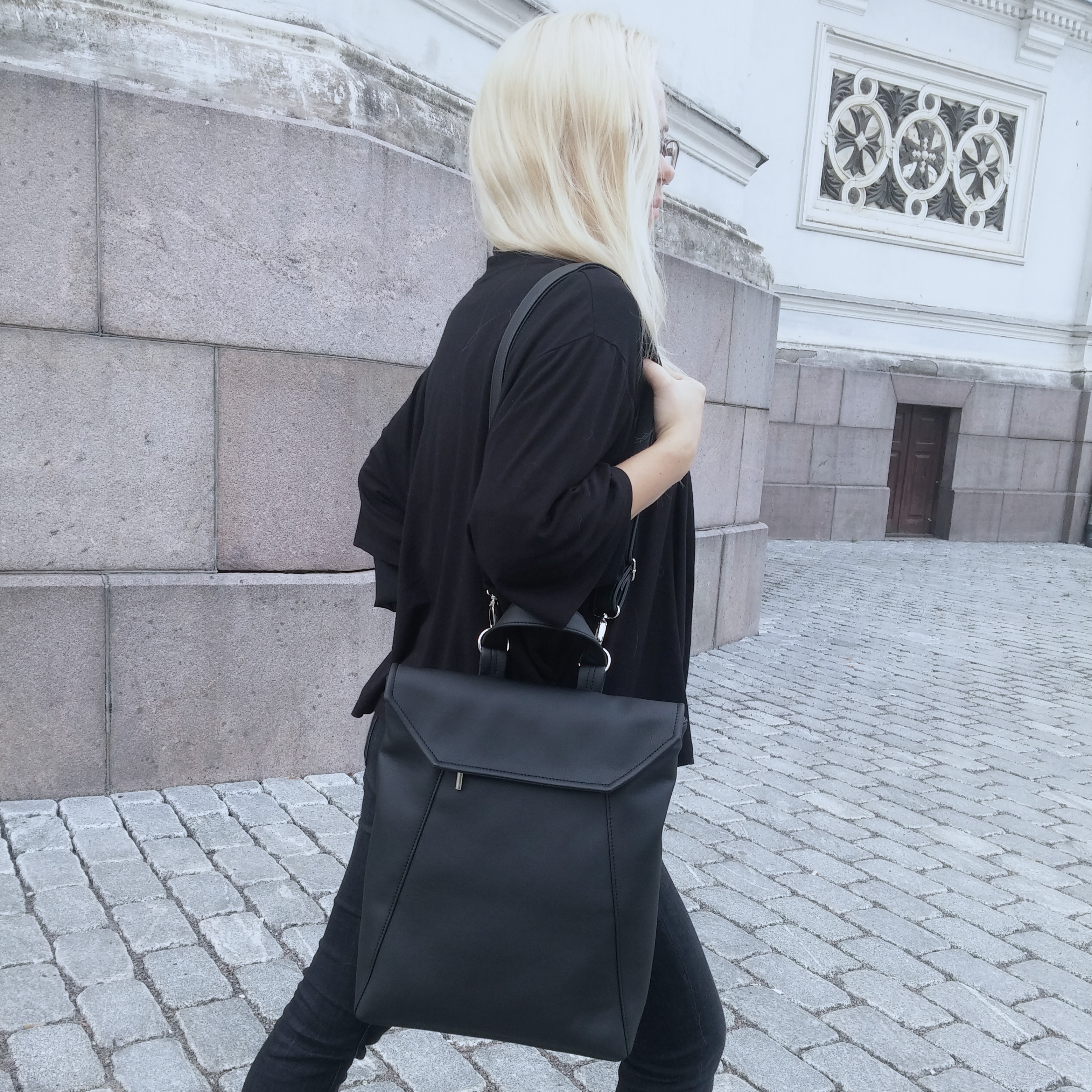 "Black ""Vero"" Convertible Backpack"